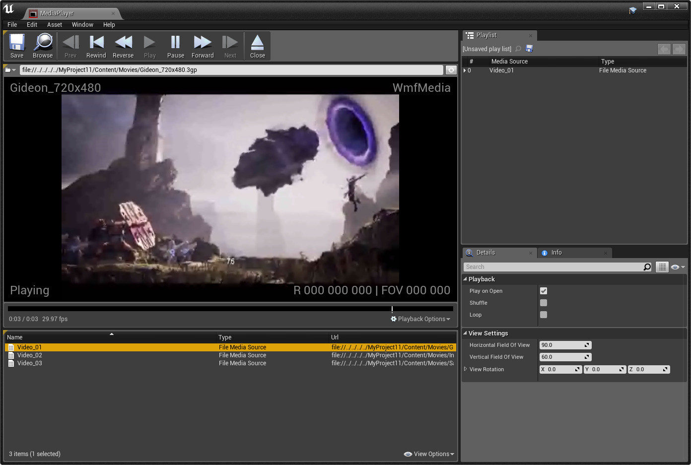 Using Media Playlists   Unreal Engine Documentation