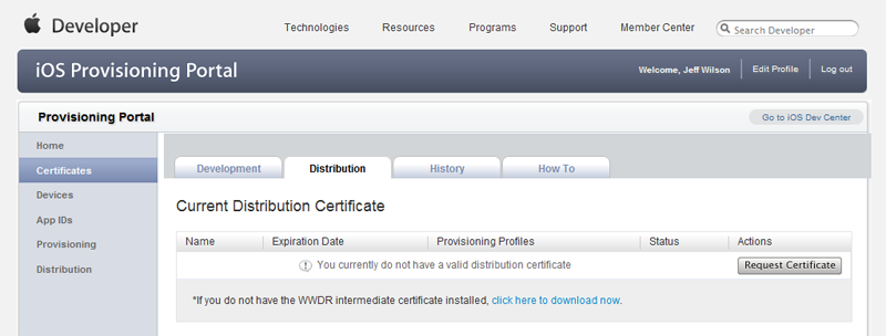 Create a Distribution Certificate