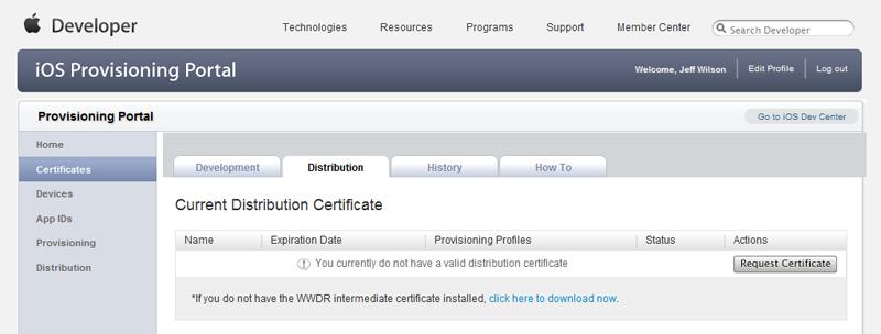 Create a Distribution Certificate